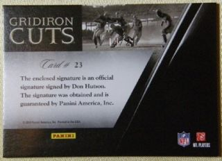 DON HUTSON 2010 PANINI GRIDIRON CUTS AUTO #14/21 JERSEY # GREEN BAY