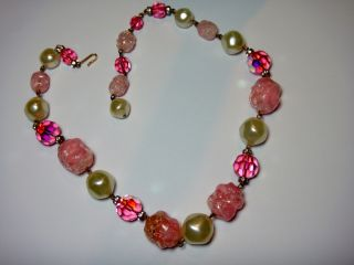 Vintage Pink Crystal AB Beads with Molded Plastic Wild Unique Necklace