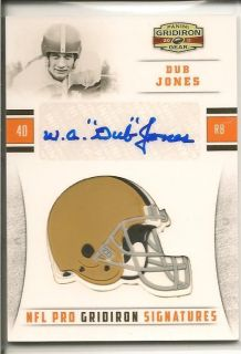 Gridiron Gear NFL Pro Signatures Dub Jones Auto Card d 03 10 Browns SP