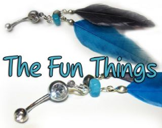 Double CZ Feather Belly Ring Black Blue Navel Ring CZ 14ga 7 16 F537