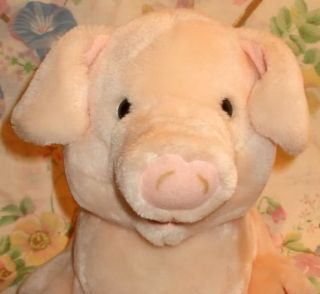 Vintage 1987 Dakin Stuffed Plush Pink Pig Piggy Bank 1O Sitting Open