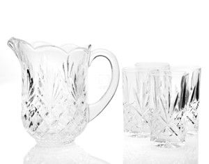 shannon crystal water set pitcher 4 dof glasses new item in