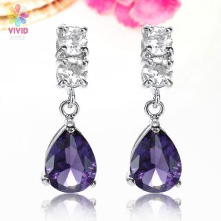 Jewelry Sapphire White Gold Plated Drop Stud Earrings Earings