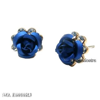 18K Gold Plated Ear Pin Use Swarovski Crystal Blue Rose Flower Earring