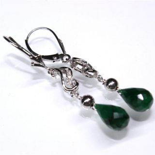 WHITE gold natural brilliant cut Diamond & Brazilian Emerald earrings