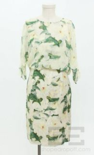 Erdem Light Yellow Green Floral Print Silk Chiffon Overlay Dress Sz US