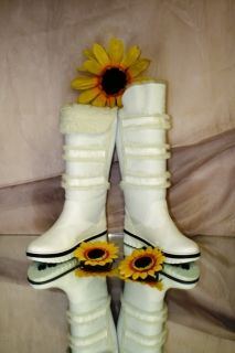 Ernesto Dolani 5085 White Leather Fur Lined Boots 37 7