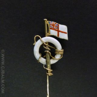 Quality Victorian Gold Royal Navy White Ensign Stick Pin (Tie Pin