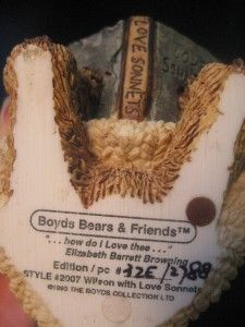 Boyds Bears Friends Wilson with Love Sonnets 1993