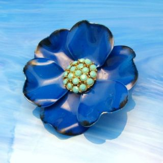 Vtg Large Blue Enamel Aqua Rhinestone Flower Brooch Pin