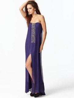 NEW* BCBG Persian Purple Exene Chiffon Beaded Strapless Gown 2 $478