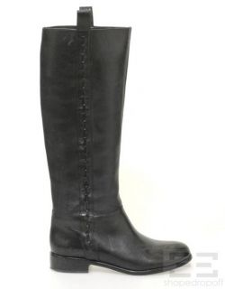 Elie Tahari Black Leather Woven Trim Knee High Flat Boots Size 37 5