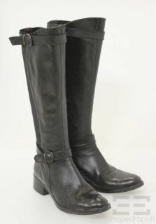 Fabio Rusconi by Pegaso Black Leather Nylon Knee High Boots Size 38 5