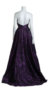 ESCADA Couture Amethyst Silk Taffeta Print Strapless Ball Gown Dress