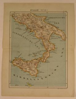 Sicily Naples 1880 Lithograph Antique Map Mediterranean MT Etna