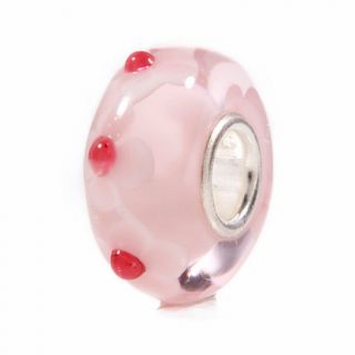 Beautiful Pink Flower Murano Glass Bead Charm Sterling 925 Silver Core