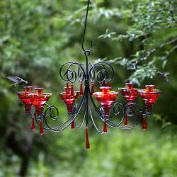 Red Glass Hummingbird Feeder Parasol 6 Flower Feeding Stations