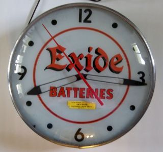 Vintage Exide Batteries Garage Lighted Clock Gas Station Battery Tires