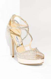 2098 Jimmy Choo Fairview Crystal Embellished Silver Sandal Shoe Size