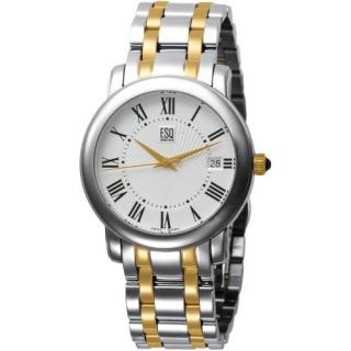 Esq by Movado Two Tone Stainless Steel Filmore Mens Watch Silver Dial