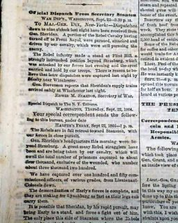 1864 Civil War Newspaper Battle of Fishers Hill Strasburg VA Philip H