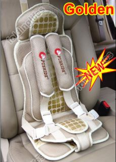 Auto Car Safety Booster Seat Cover Harness Cushion Belt Golden