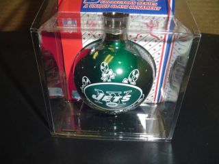 New York Jets Christmas Tree Ornament Football in Display Storage Box