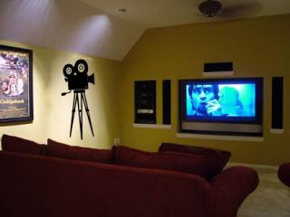Home Theater Set Film Popcorn Tickets Camera Movie Wall Art Decal