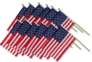 12 Pcs A Dozen 9 x 6 USA American Flags for July 4th Memorial