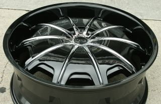 STATUS OPUS 24 BLACK RIMS WHEELS FORD EXPLORER / 24 X 9.0 5H +30