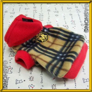 Dog Clothes Warm Hoodie Shirts Pet Apparel Check Pattern Fleece Coats