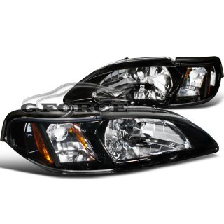 Glossy Black 94 98 Ford Mustang Headlight Corner Lamps