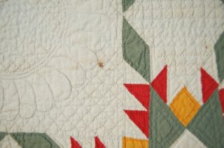 Museum Quality Vintage Feathered Stars Antique Quilt Signed Dated 1877