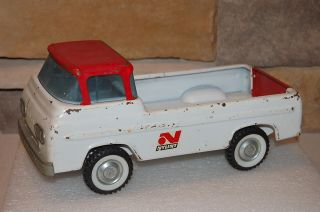 Nylint Pressed Metal Ford Pickup Truck Econoline White with Red Roof