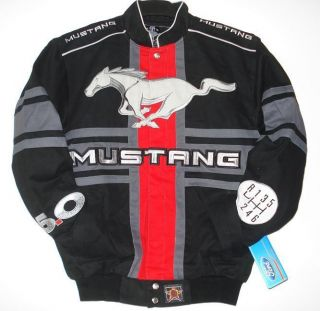 SIZE M AUTHENTIC EMBROIDERED FORD MUSTANG RACING Engine COTTON black
