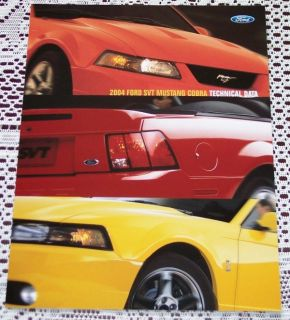 New 2004 Ford Mustang SVT Cobra Focus SVT F150 Lightning Literature
