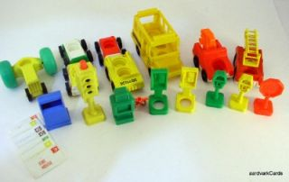 Fisher Price Little People Vintage Vehicle & Sign lot Main Street Over