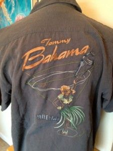 TOMMY BAHAMA Relax 100% Silk Charcoal Shirt Embroidered Shake My Day