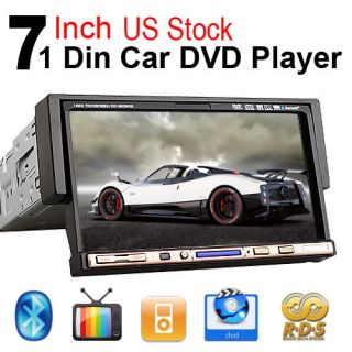 Single 1 DIN 7 Flip Down Car DVD CD TV Radio Player Touch Screen iPod