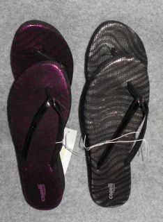 Womens Pink or Silver Zebra Flip Flops Sandals Shoes 8 9 10