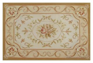 HAND WOVEN Aubusson Area Rug ANTIQUE FRENCH STYLE Wool Flat Weave $500
