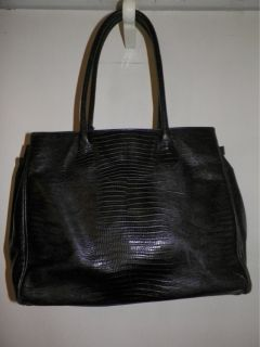 Francesco Rogani Black Croc Leather Bag Purse w Gold Hardware Lock Key