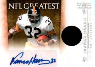 FRANCO HARRIS 2011 NATIONAL TREASURES STEELERS JERSEY AUTOGRAPH AUTO