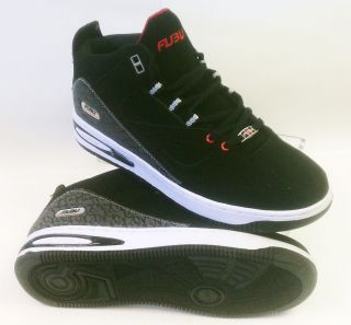 FUBU Fashion Mid Hi Top Sneaker 3 4 Mens Casual Shoe 112406 Black Red