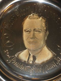 FRANKLIN D ROOSEVELT STERLING SILVER LTD ED FRANKLIN MINT PLATE w 24kt