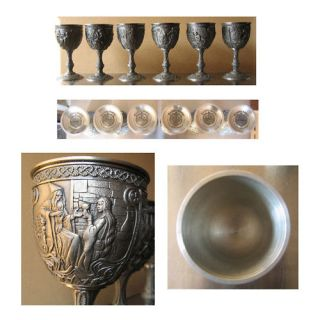 Franklin Mint Excalibur Pewter Goblets Set of 6