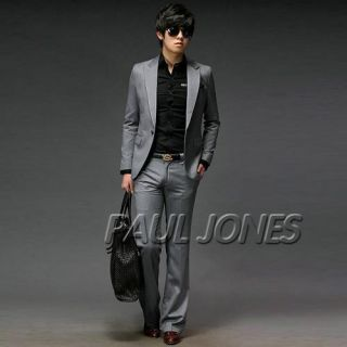 Mens One Button Wedding Suit Formal Blazer Pants Veat 3pcs Sets