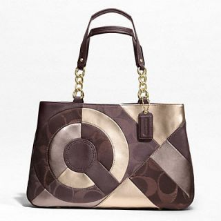 NWT COACH SIGNATURE BROWN PATCHWORK GOLD LEATHER TOTE HANDBAG SHOULDER