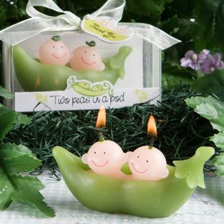 30 Twin Baby Shower Favors Two Peas in A Pod Candles