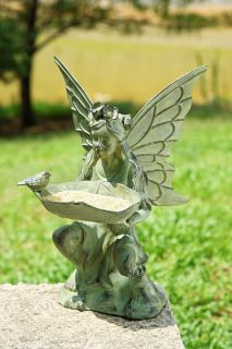 Fairy Girl Bird Seed Feeder Garden Statue Sculpture